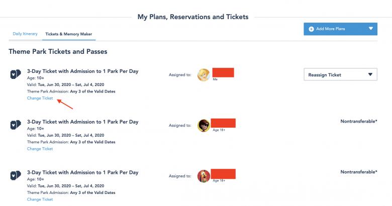 print mostrando a opção de remarcar os ingressos da Disney pelo sistema My Disney Experience