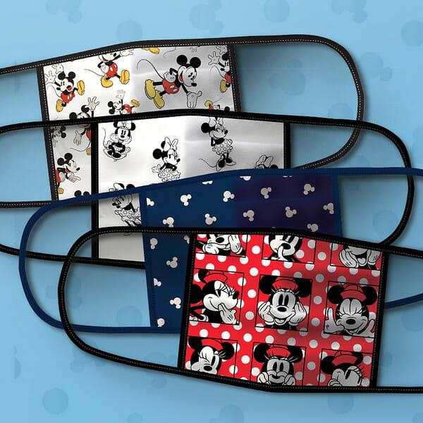 Foto das máscaras temáticas da Disney, com estampas da Minnie e Mickey em diversas cores