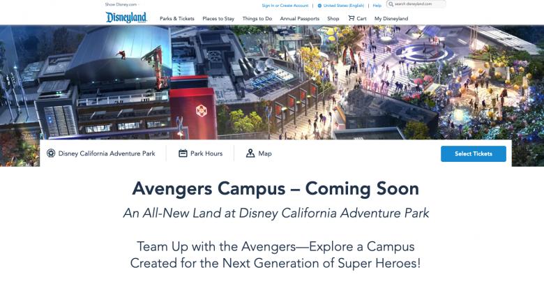 """Foto do site da Disneyland com o anúncio do Avengers Campus. Onde antes havia uma data de abertura, agora há apenas """"coming soon"""""""