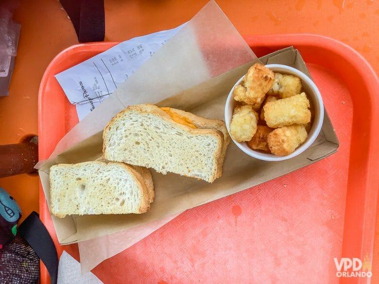 Foto da comida da Carol, que escreveu ao Viagem do Leitor sobre sua experiência como vegana na Disney, um queijo quente vegano e batatas ao lado