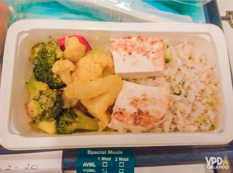Foto do almoço da Carol no voo de Campinas para Orlando - arroz integral, tofu e legumes