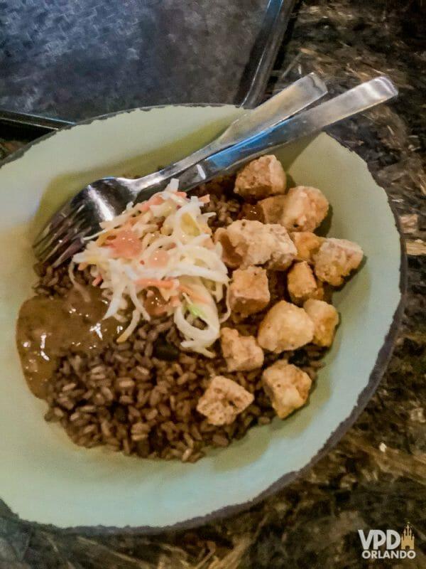 Foto da comida da Carol, que escreveu ao Viagem do Leitor, um prato vegano com tofu, arroz e feijão no Animal Kingdom