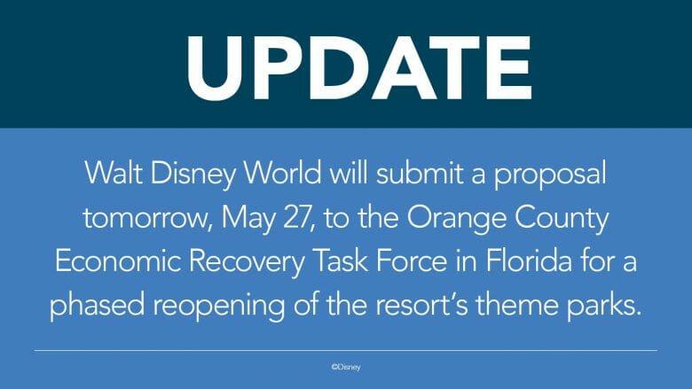 Foto do comunicado da Disney a respeito da apresentação do plano de reabertura, que será feita na reunião do comitê de Orange County em 27 de maio de 2020