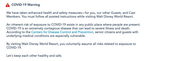 Informativo da Disney sobre os riscos e afirmando que não se responsabilizam caso haja o contágio dentro do complexo