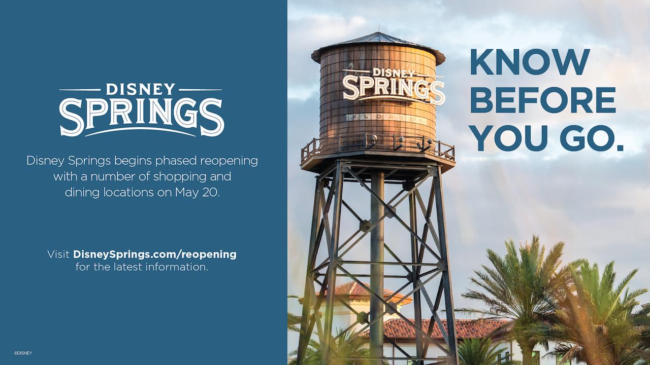 """Foto de divulgação da Disney dos procedimentos de reabertura de Disney Springs, com a imagem da caixa d'água do local e o texto """"Know Before You Go"""""""