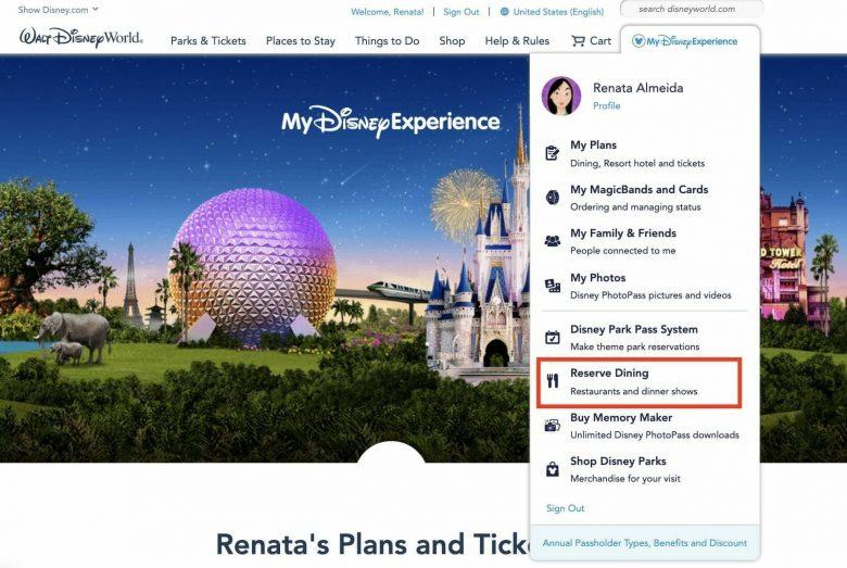 """Foto da tela do site da Disney em inglês, na seção """"Reserve Dining"""""""