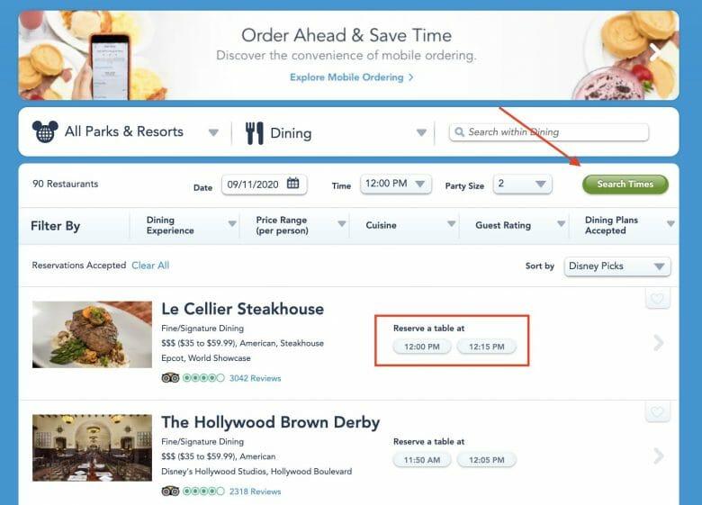 Foto da tela do site da Disney em inglês na parte de selecionar o horário da reserva de restaurante