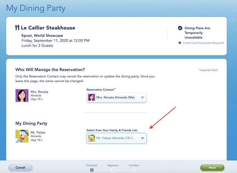 Foto da tela do site da Disney na parte de selecionar qual visitante irá na reserva feita