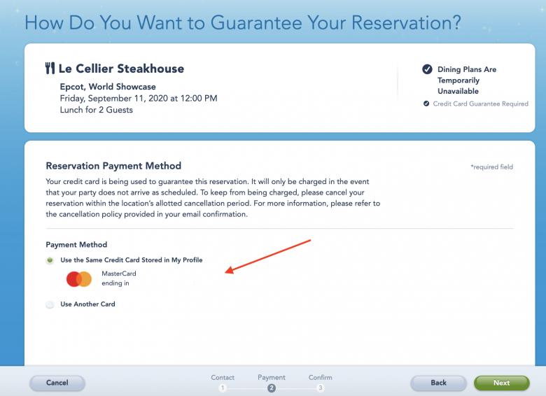 Foto da tela do site da Disney na seção de escolher a forma de pagamento para a reserva