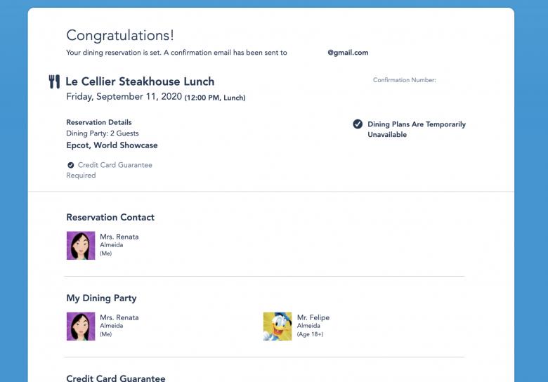 Foto da tela do site da Disney na parte que mostra a reserva confirmada e todos os seus detalhes