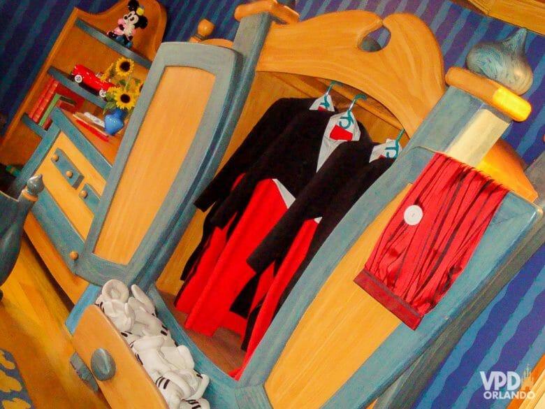 Foto do armário do Mickey na casa da Toontown, que não existe mais e deixou saudades.