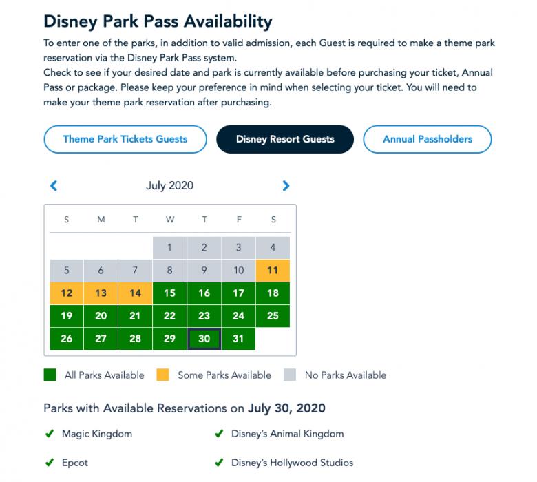 Foto do site da Disney mostrando o calendário de disponibilidade do Disney Park Pass