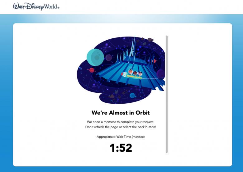Foto da tela do site da Disney, mostrando um tempo de espera para acessar o sistema de reservas.