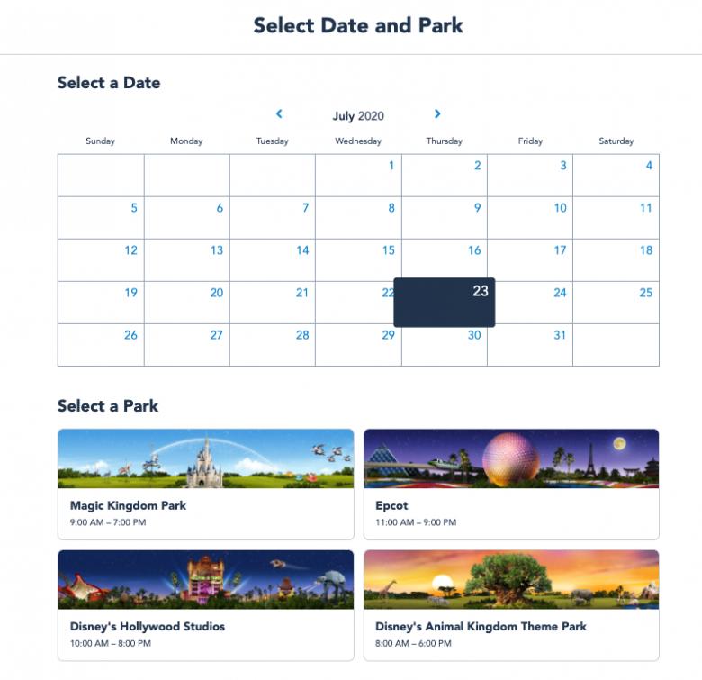 Passo 3 - Disney Park Pass. Foto da tela no site da Disney, mostrando o calendário com datas disponíveis para agendar o Disney Park Pass