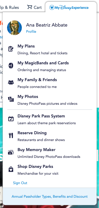 Passo 1 - Disney Park Pass. Foto da tela do site da Disney, mostrando o acesso ao perfil do My Disney Experience