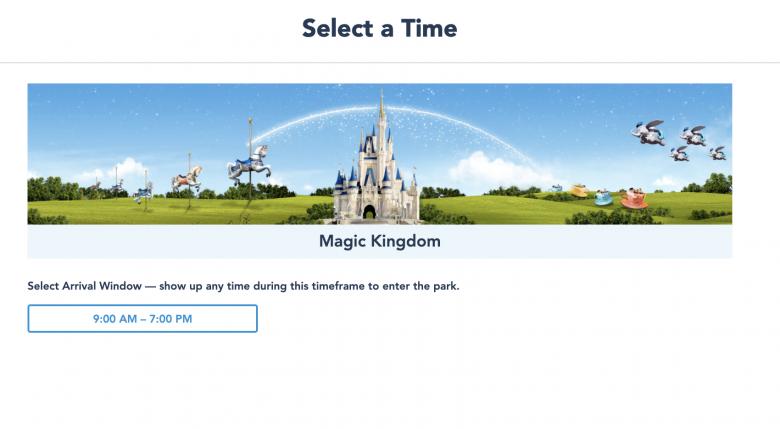 Foto do site da Disney mostrando como escolher o horário de agendamento do Disney Park Pass