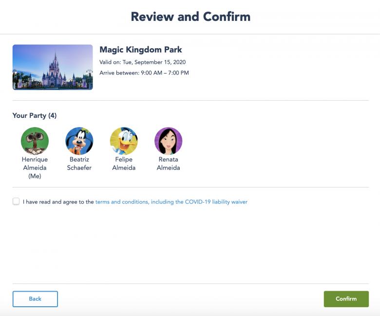Passo 4 - Disney Park Pass. Foto do site da Disney, na etapa de confirmar dias e horários do Disney Park Pass para o grupo