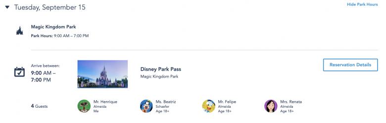 """Foto do site da Disney, na seção """"Meus Planos"""", mostrando as reservas já feitas do Disney Park Pass"""