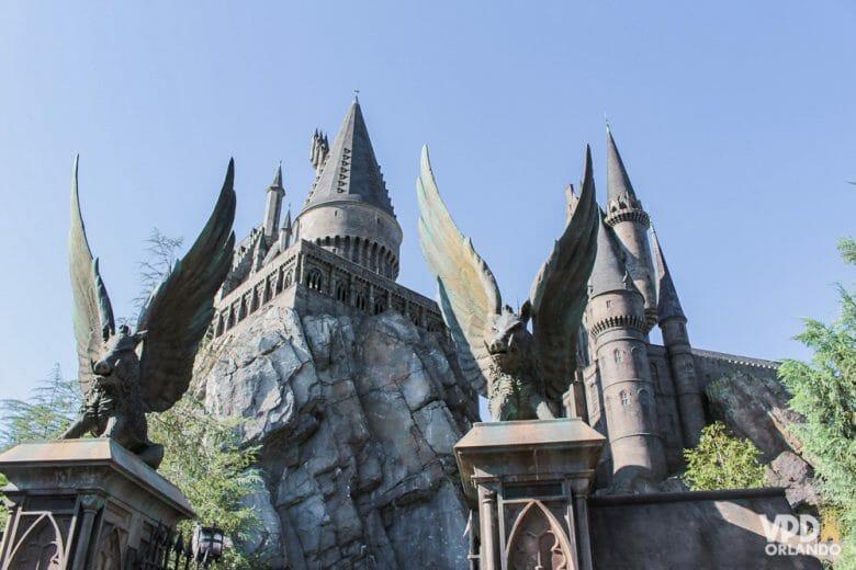 Castelo de Hogwarts na Universal, uma das partes mais legais dos parques.