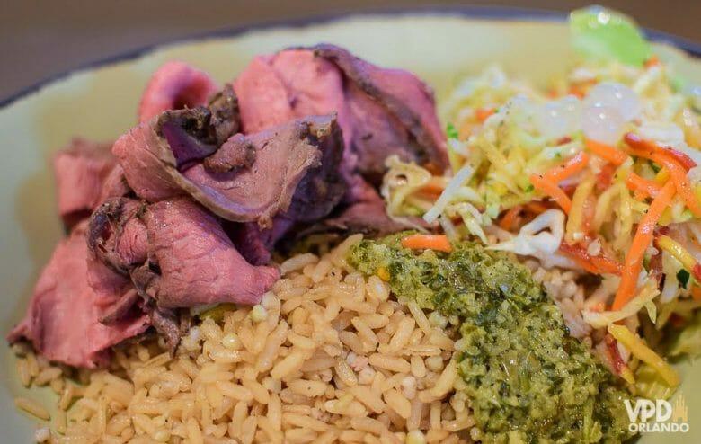 Foto do prato no Satu'li Canteen, no Animal Kingdom, com carne, arroz e vegetais.