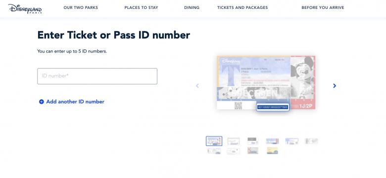 Foto da tela no site da Disneyland Paris mostrando o local para vincular os ingressos