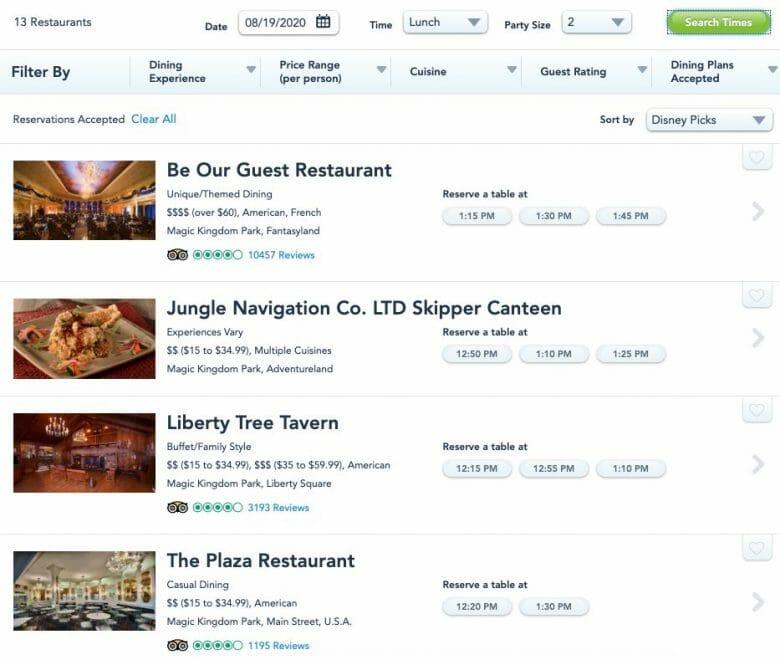 Foto do site da Disney na seção em que são feitas as reservas de restaurante, mostrando as opções disponíveis