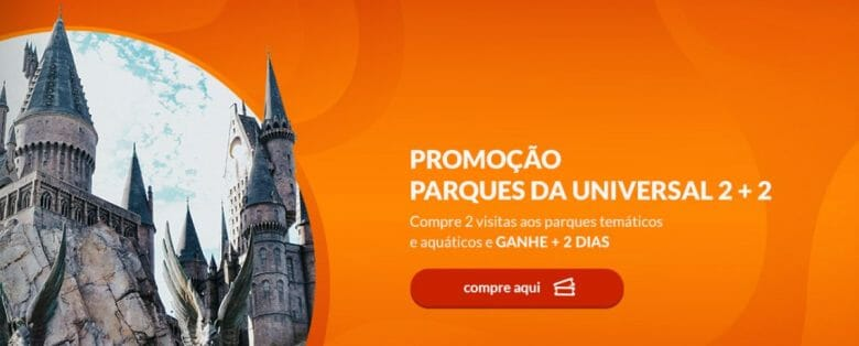 Foto da tela do VPD Travel, anunciando a promoção Parques da Universal 2+2 em um fundo laranja