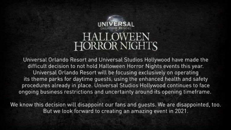 Foto do comunicado publicado pela Universal. Ele explica que a companhia tomou a difícil decisão de não realizar a festa Halloween Horror Nights este ano, em vista da pandemia, para manter a segurança e saúde dos visitantes.