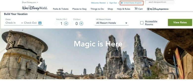 Foto da tela do site da Disney em inglês, na página inicial