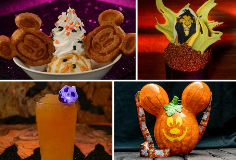 Imagem das comidas e bebidas especiais que serão vendidas nos parques durante a época de Halloween, que incluem sorvete com waffles do Mickey, um doce com o Jafar, do Rei Leão, uma bebida com canudinho de caveira iluminada e uma abóbora em forma de Mickey com docinhos dentro.
