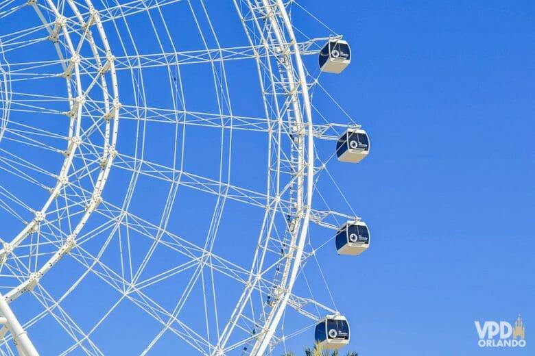 Imagem da roda-gigante do ICON Park com o céu azul ao fundo. Apenas pessoas do mesmo grupo entram nas cápsulas da roda gigante.