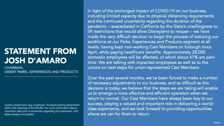 Imagem transcrevendo o comunicado oficial feito por Josh D'Amaro a respeito da demissão de 28 mil funcionários dos parques da Disney.