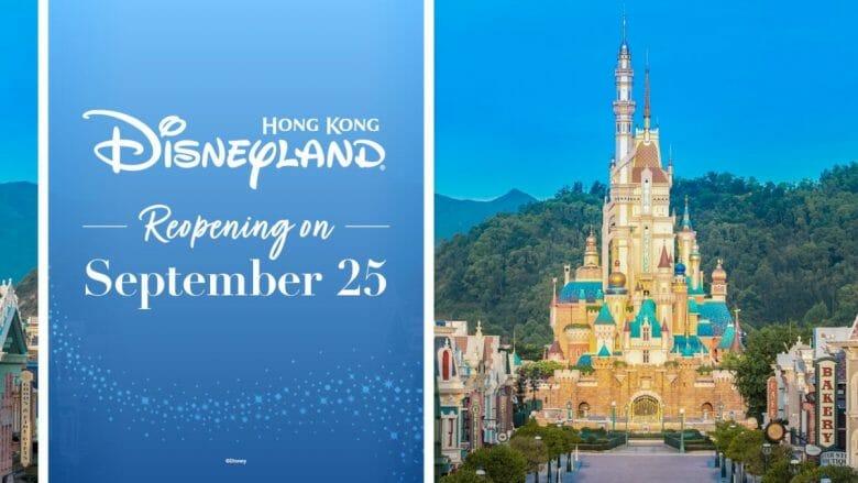 Imagem de divulgação da reabertura da Disneyland de Hong Kong. Metade do pôster está com a data de reabertura, 25 de setembro, em um fundo azul-céu, e a outra metade tem a imagem do novo castelo que será inaugurado no parque.