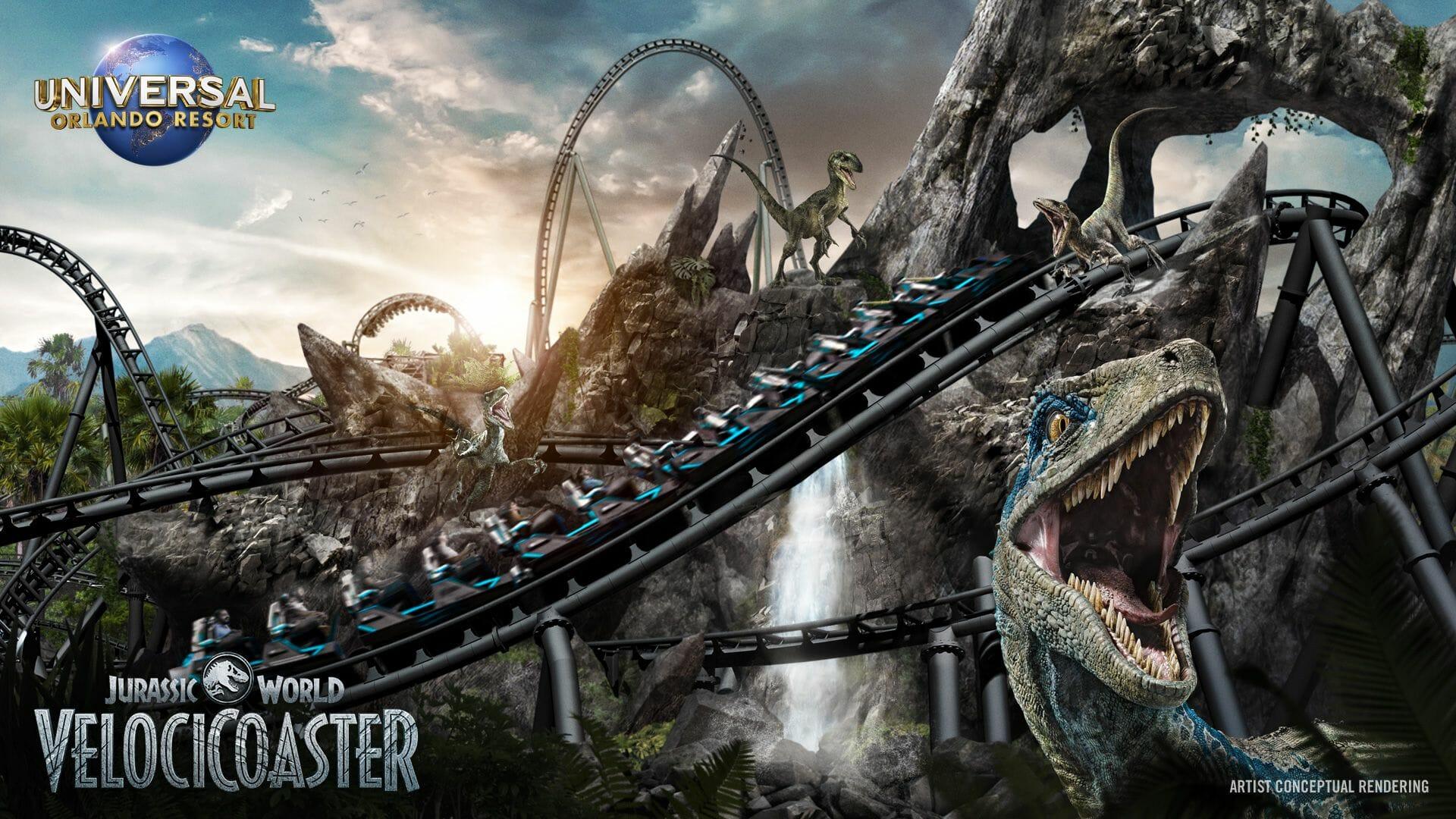 Imagem de como será a nova montanha-russa de Jurassic World na Universal.