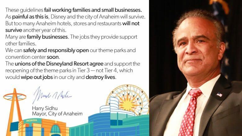 Imagem da reação do prefeito de Anaheim às orientações do governador. Ele pede que os parques abram na fase laranja e não na fase amarela.