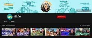 Imagem mostrando a página principal do canal do VPD no YouTube, com os 6 vídeos mais recentes em destaque.