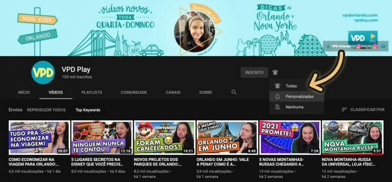 Imagem da página inicial do canal do VPD Orlando no YouTube com uma seta indicando o sininho para receber notificações de publicação de vídeos novos da série.