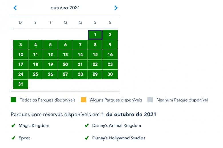 Calendário mostrando a disponibilidade do Disney Park Pass em outubro de 2021. Todas os dias estão verdes, com todos os parques disponíveis para reserva.