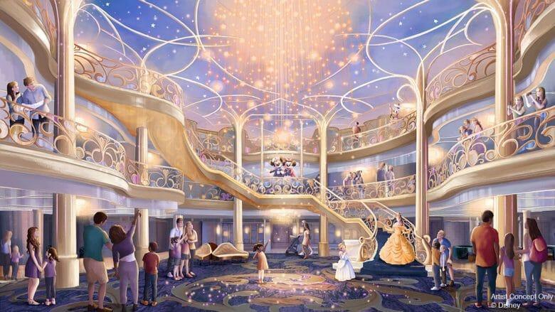 Projeto artístico mostrando o átrio do novo navio Disney Wish, com Mickey, Minnie e outros personagens em uma escada acenando para o público.