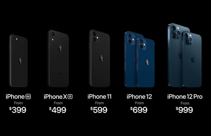 Imagem com a linha completa de modelos de iPhone da Apple, incluindo os lançamentos iPhone 12 e iPhone 12 Max
