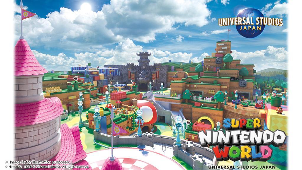 Imagem de divulgação da nova área da Nintendo no parque da Universal no Japão, com vários elementos dos videogames do Mario, Mario Kart e outros.