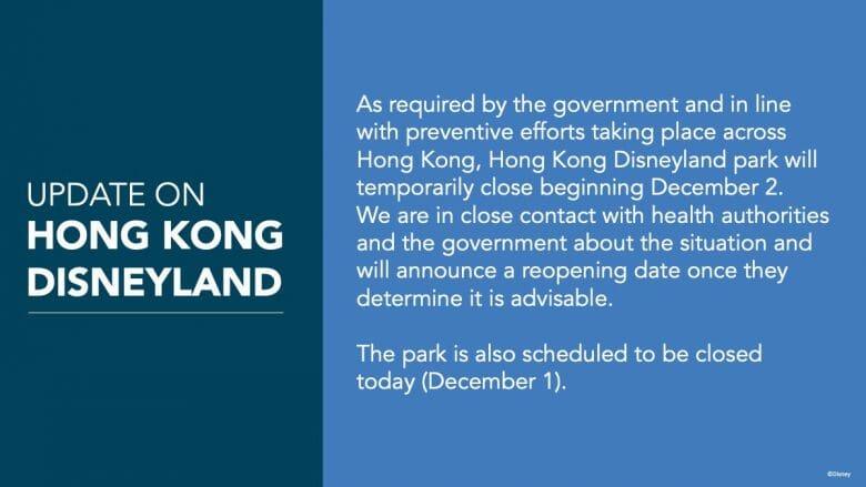 O anúncio do fechamento da Disney de Hong Kong, informando que ele acontecerá a partir de 2 de dezembro.