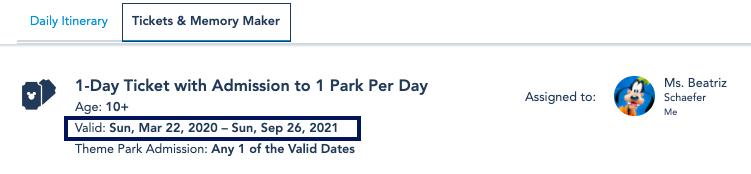 print do site My Disney Experience mostrando a validade dos ingressos.