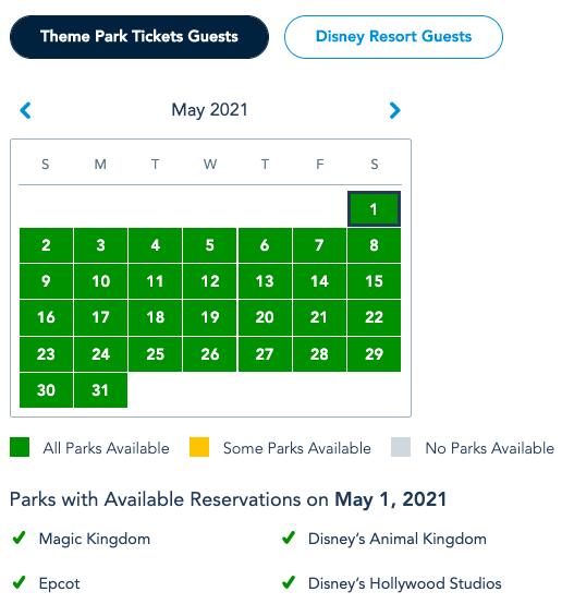 calendário mostra a disponibilidade para agendar a visita aos parques da Disney, importante na hora de remarcar a visita.