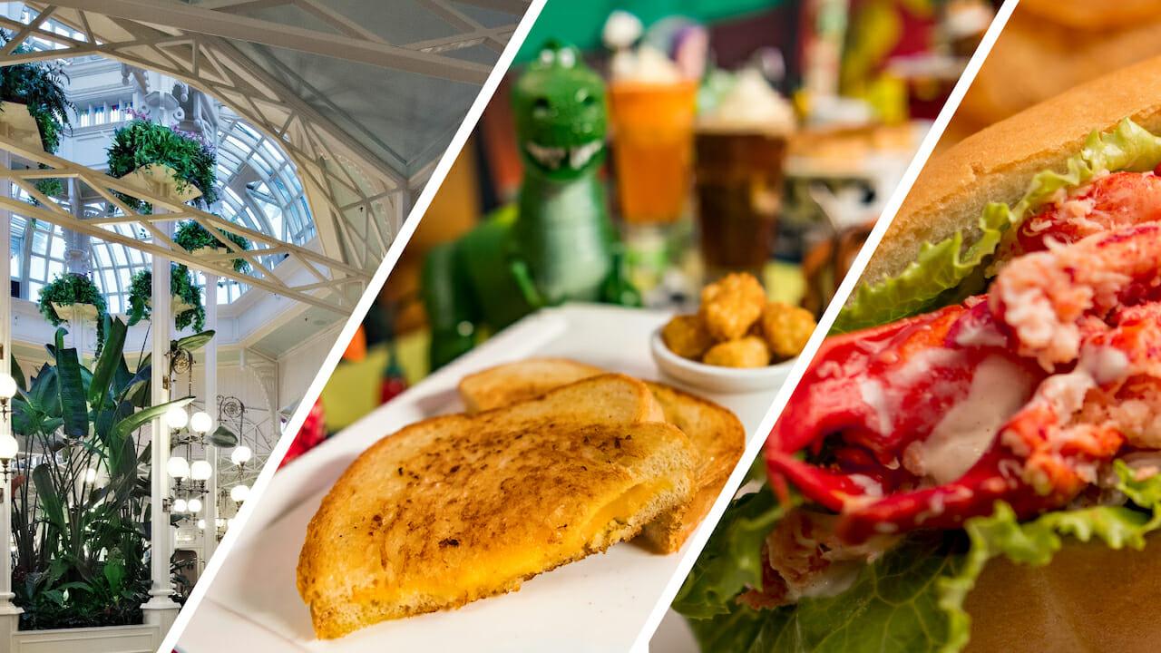 Imagens dos 3 restaurantes dos parques estão reabrindo: Crystal Palace, Woody's Lunch Box e Tomorrowland Terrace
