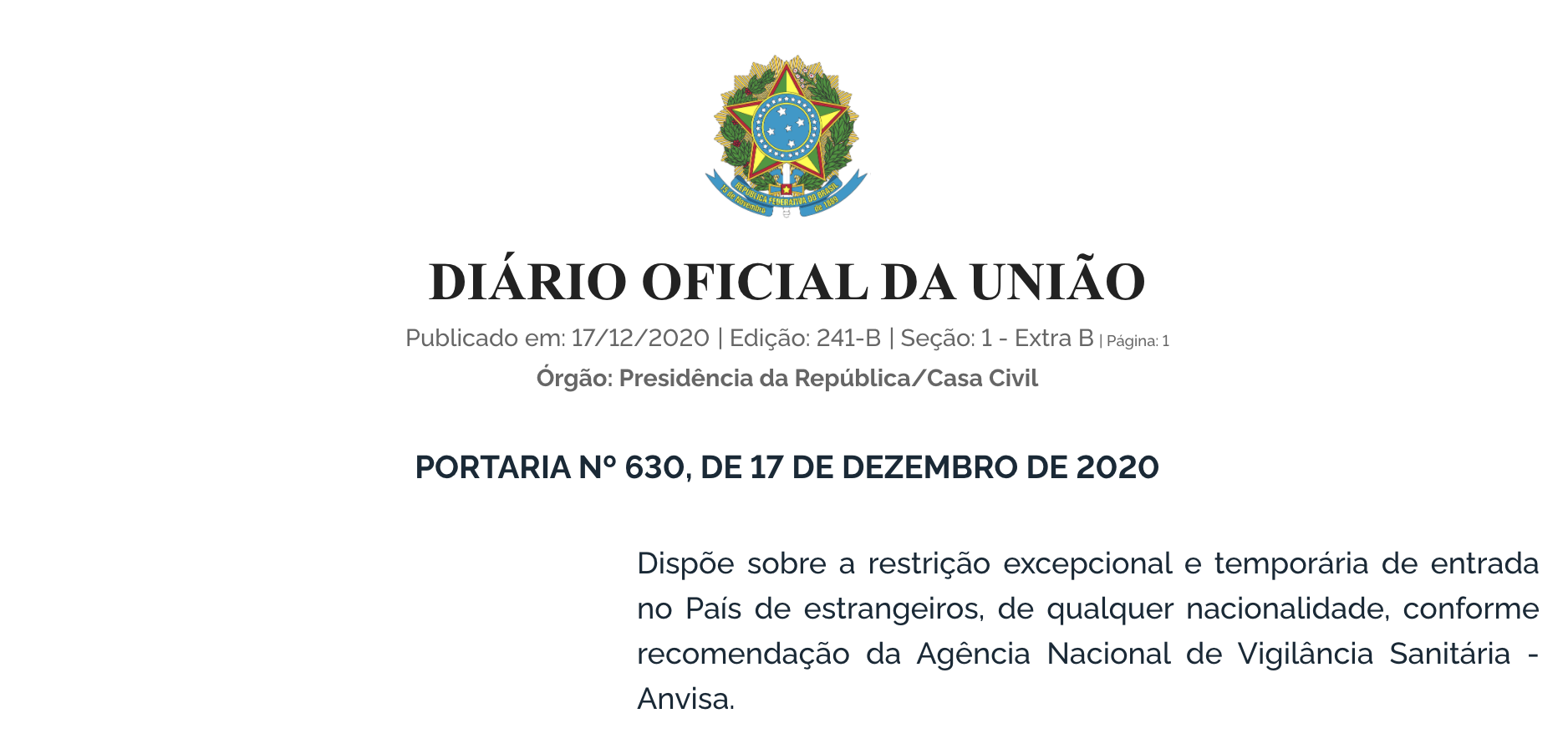 Imagem da portaria publicada no Diário Oficial sobre a obrigatoriedade de teste de covid-19 para embarcar do exterior para o Brasil.