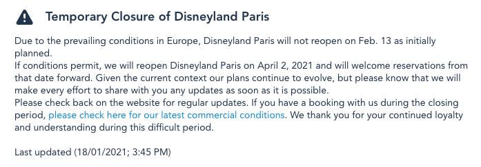 O anúncio da extensão do fechamento no site da Disneyland Paris