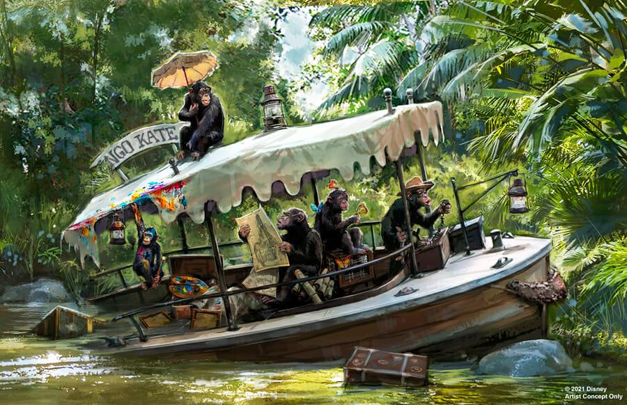 5 chimpanzés dentro de um barco que afundou. Eles mexem em mapas e nas malas que estão dentro do barco.