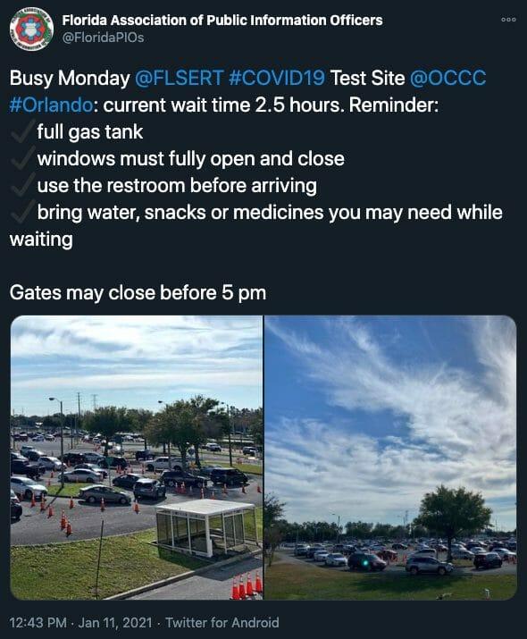 Publicação do Twitter oficial do Orange County Convention Center, falando sobre o tempo de espera. Ele oferece o teste pcr de covid gratuitamente.