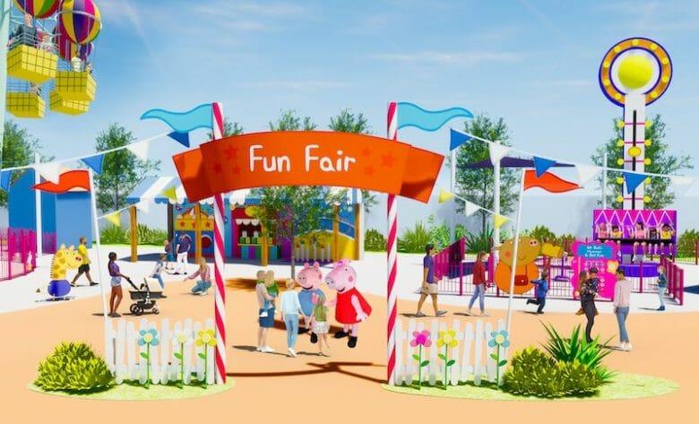 Conceito de uma Fun Fair no novo parque da Peppa Pig